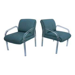 Mid-Century Lion in Frost Lucite Accent Chairs - A Pair