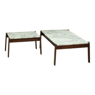Pair Percival Lafer Side Tables With Marble Top