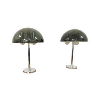 Vintage Mid Century Chrome & Lucite Lamps - A Pair
