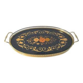 Italian Navy Blue Inlaid Wood Marquetry Tray
