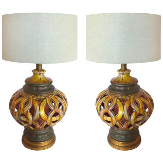 60s Pierced Ceramic Table Lamps - Pair