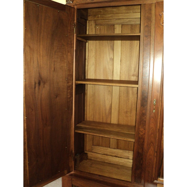 Antique Walnut 2 Door Wardrobe/Armoire - Image 8 of 8