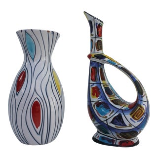 Italian Hand Made Studio Pottery Vase & Ewer- Set of 2