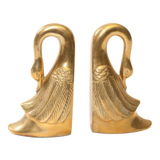 Vintage Hollywood Regency Solid Brass Swan Bookends - A Pair
