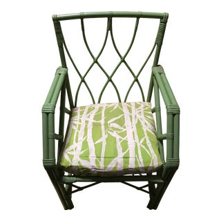 Vintage Green Rattan Arm Chair