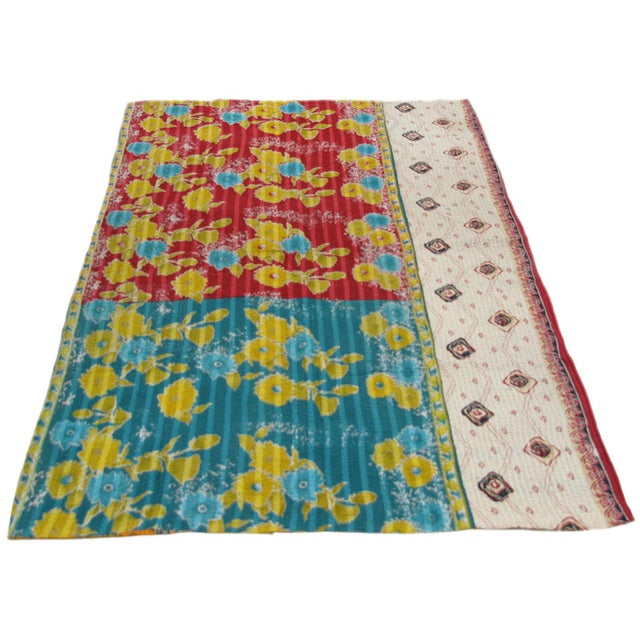 Vintage Primary Colorway Kantha Quilt - Image 3 of 3