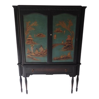 Antique Oriental Mirrored China Cabinet