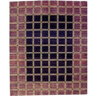 Contemporary Brown & Gold Checker Rug - 8' X 10'