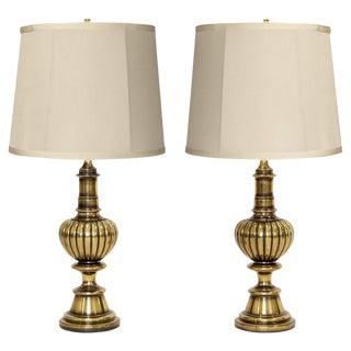 Stiffel Antiqued Brass Lamps - A Pair