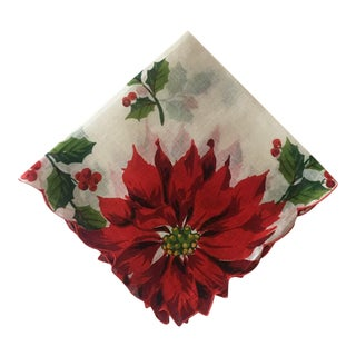 Vintage Christmas Poinsettia Linen Handkerchief
