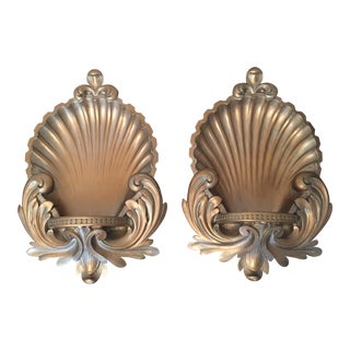 Rococo Gold Shell Wall Brackets - A Pair