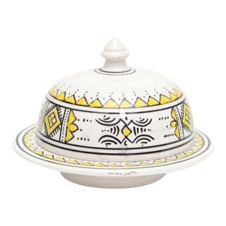 Yellow Moroccan Hand Painted Serving Tajine