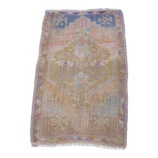 """Turkish Brown Wool Pile Small Vintage Rug - 1'8"""" x 2'10"""""""