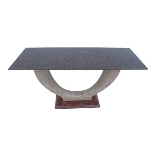 Maitland-Smith Tessellate Stone Marble Top Console Table