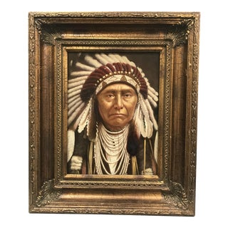 Oil Painting of American Indian Chief