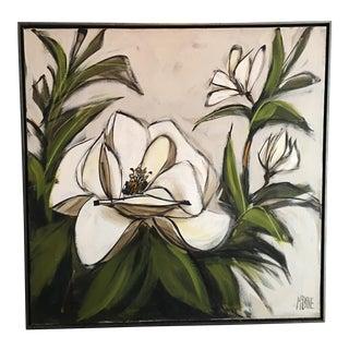 McCaine Magnolia Mid-Century Oil Painting