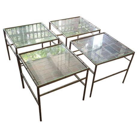 Faux Bamboo Metal Side Tables - Set of 4 - Image 1 of 5