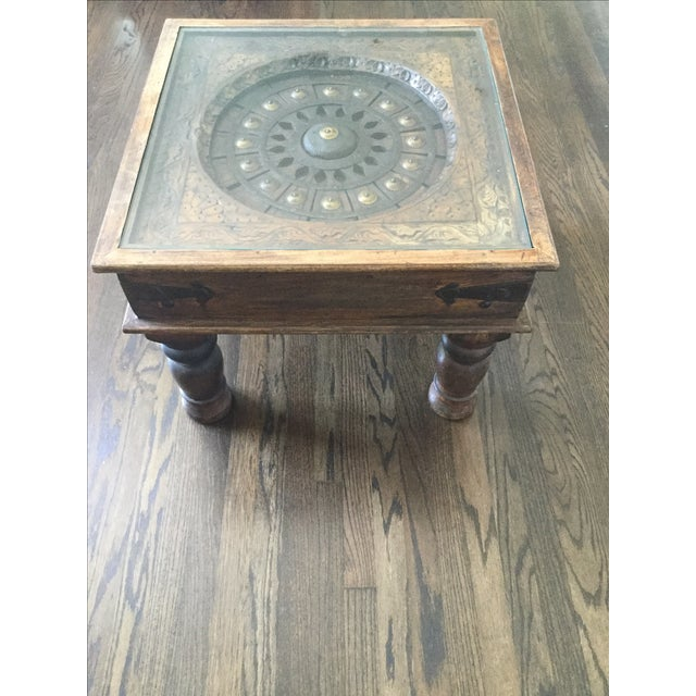 Glass-Top Dark Wood Table - Image 2 of 4