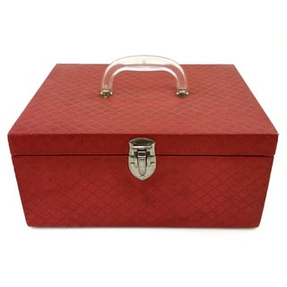 Vintage Red Vinyl Quilted Sewing Chest