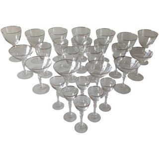 Mid-Century Cut Crystal Barware - Set of 26