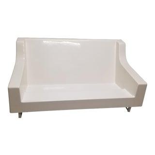 Mid-Century Modern White Sofa
