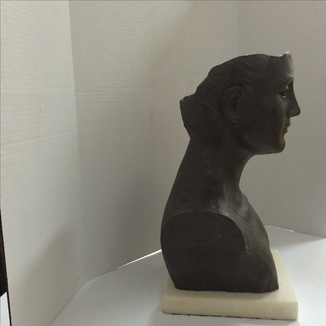 Modernist Male Bust Bronze Sculpture - Image 7 of 11