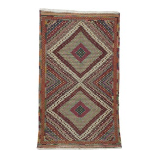 Vintage Turkish Embroidered Kilim Rug- 5′4″ × 8′8″