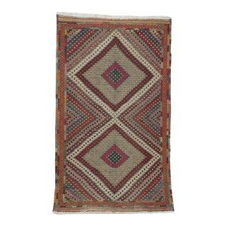 Vintage Turkish Embroidered Kilim Rug- 5′4″ × 8′8″