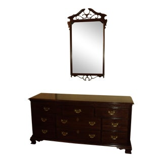 Ethan Allen Knob Creek Collection Chippendale Style Cherry Dresser & Mirror - A Pair