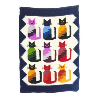 Vintage Woven Cat Tapestry
