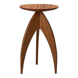 Solid Zebrawood Candle Stand Side Table
