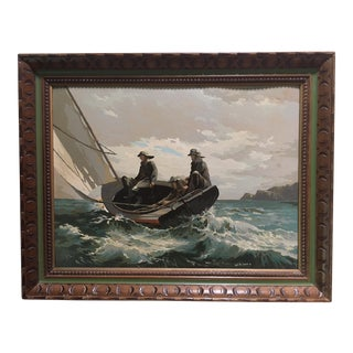 Mid Century Paint by Number Painting of Fishermen After Winslow Homer