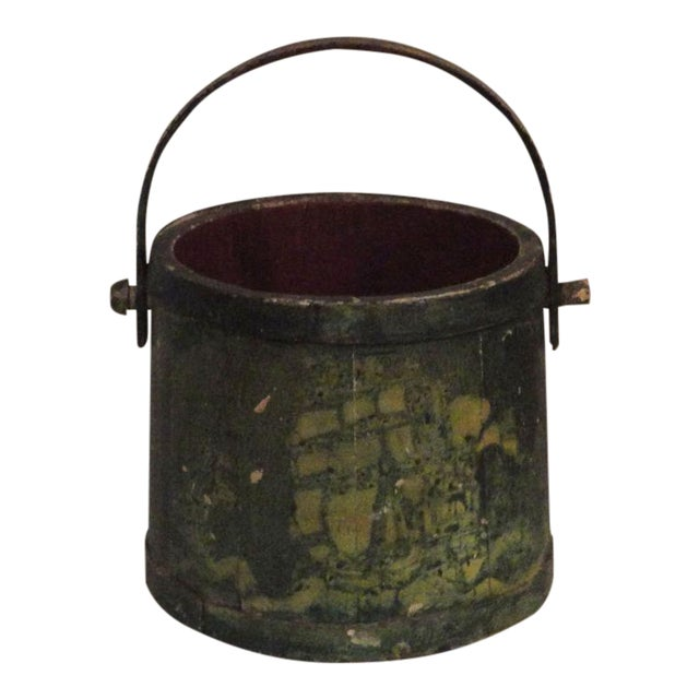 19th Century Nautical Original Painted and Decorated Water Bucket from NE - Image 1 of 8