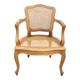 Vintage French Provencial Louis XVI Style Caned Bergere Arm Chair