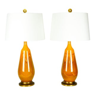 Vintage Porcelain Table Lamps with Brass Base - A Pair