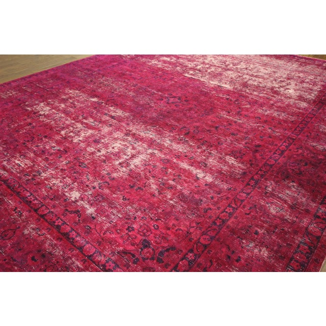 """Pink Overdyed Floral Area Rug - 9'7"""" x 12'2"""" - Image 4 of 10"""