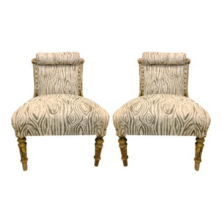 19th-C. French Linen Slipper Chairs - A Pair