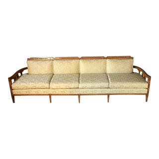 Mid-Century Cream Brocade & Carved Wood Sofa