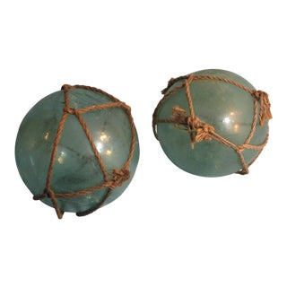 Japanese Green Glass Fishing Buoy Floats - A Pair