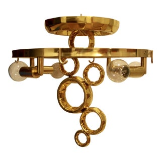 Corbett Lighting Semi Flush Mount Cast Brass Chandelier