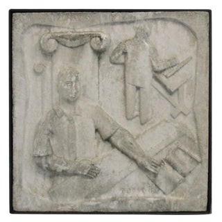 Wall-Mounted Cast Concrete Art Deco Plaque
