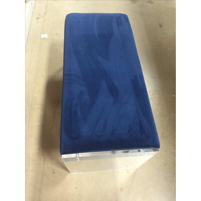 Navy Blue Velvet Bench Ottoman With Lucite Base - Image 3 of 6