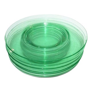 Cambridge Green Depression Glass Plates - Set of 6
