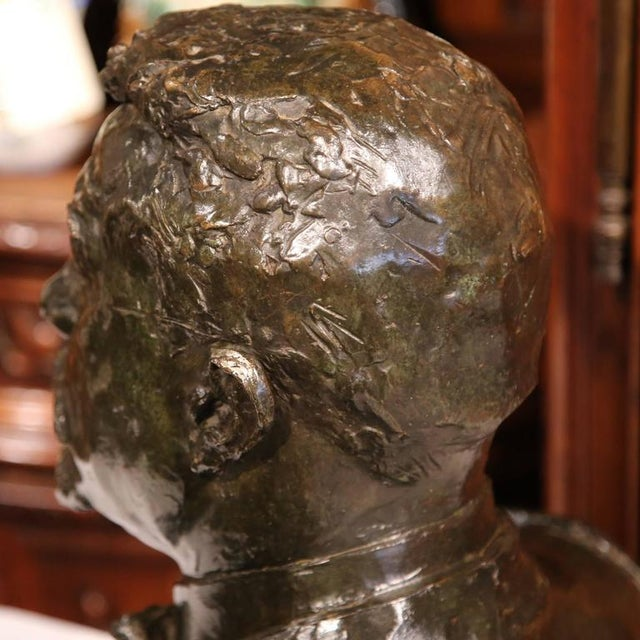 """Large 20th Century French Bronze Bust Signed """"A. Descatoire"""", 1913 - Image 8 of 8"""