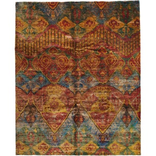 "Sari Silk, Hand Knotted Area Rug - 7' 9"" X 9' 7"""