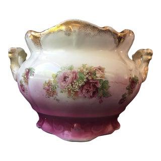 Victorian Rose & Gilt Porcelain Jardiniere