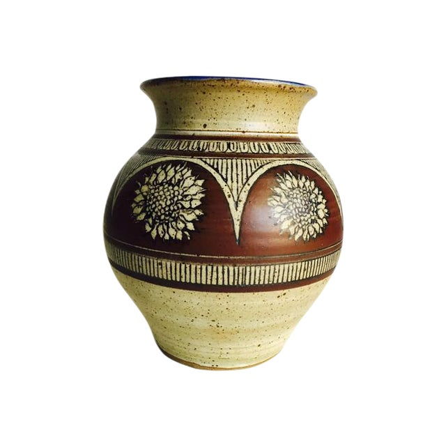Tall Earthenware Vintage Pottery Vase, Signed - Image 1 of 7