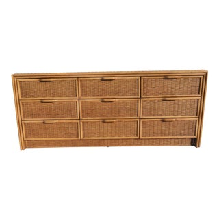 Bamboo & Wicker 9-Drawer Dresser