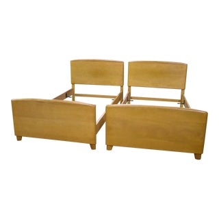 Heywood Wakefield Mid-Century Modern Encore Wheat Twin Beds - A Pair
