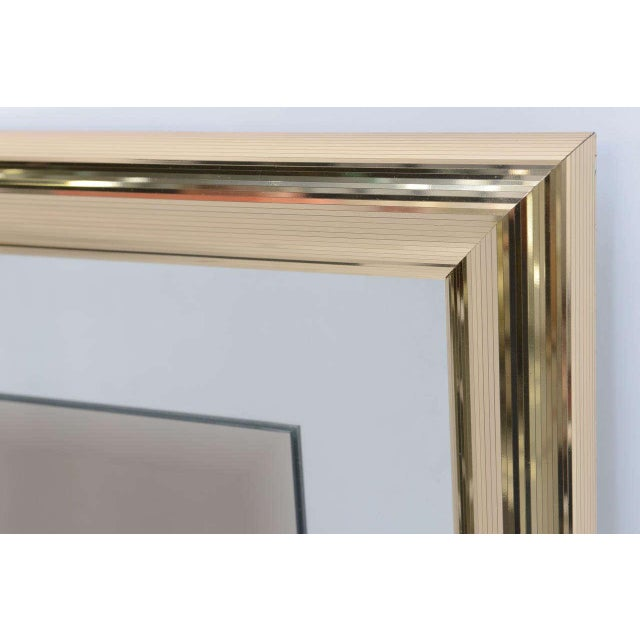 Sleek 1970s Faceted Brass Mirror with Center Bronze Mirror - Image 5 of 8